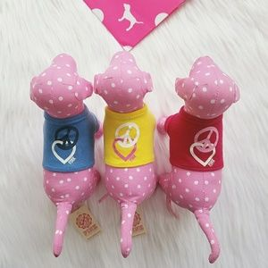Victorias Secret PINK Mini Dogs Set T-shirt Hearts